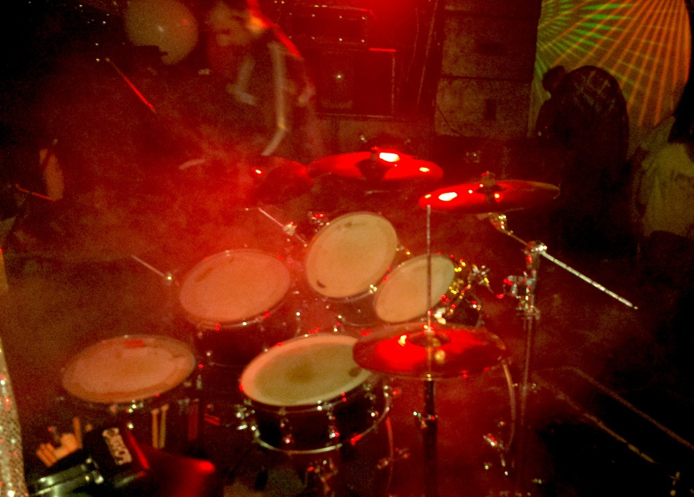 Drumkit with red lighting